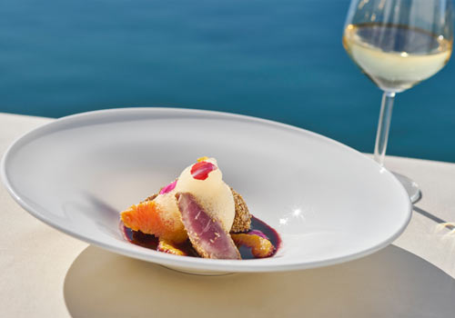 Seared tuna with citrus foam
